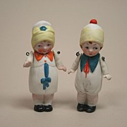 Vintage All Bisque Boy And Girl Doll Circa 1920s