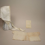 SALE Antique Linen Top And Bonnet Circa 1860s