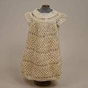 Antique Cream Crocheted Party Dress Circa 1900