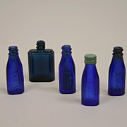 SALE Four Miniature Vintage Cobalt Blue Vicks Bottles Plus One Extra