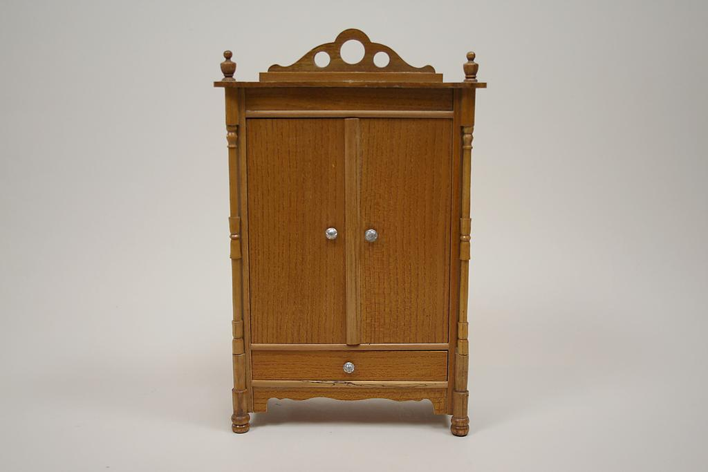Antique German Dollhouse Golden Oak Armoire Circa 1900