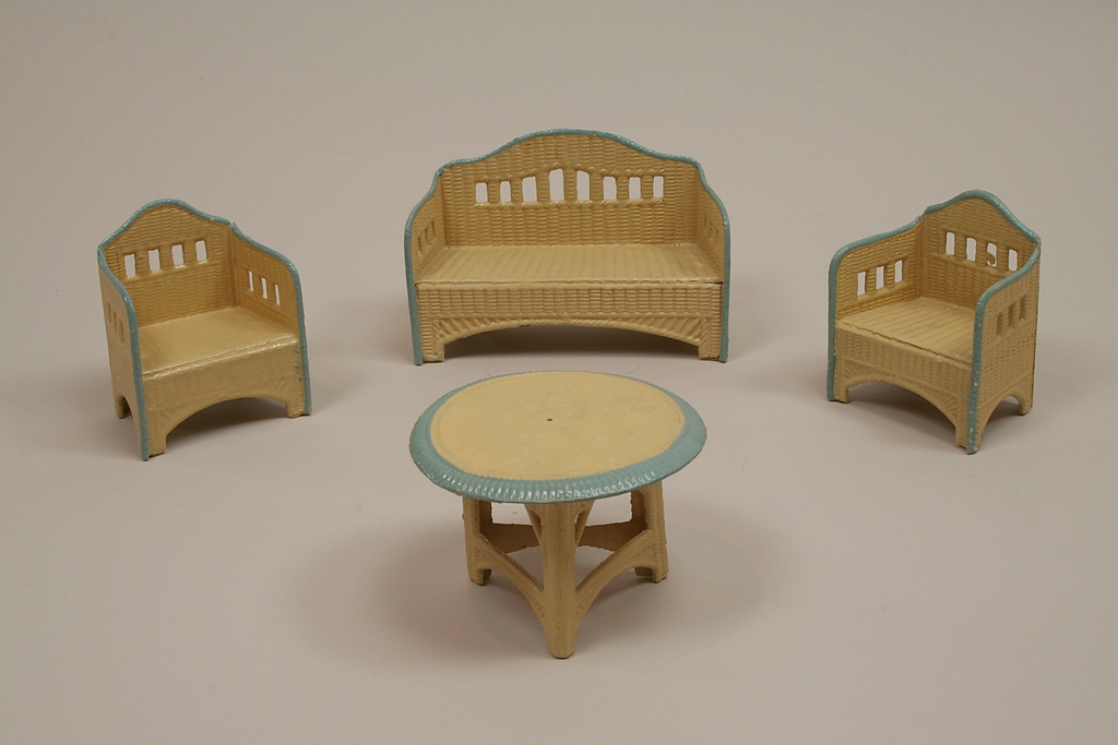 Early 4 Piece Pressed Cardboard Dollhouse Garden Furniture
