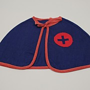 Vintage Rare Red Cross Doll Cape Circa 1930's
