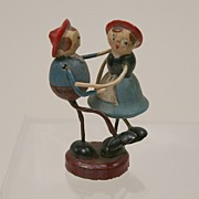 Rare Early Miniature Wooden Dancing Dollhouse Couple