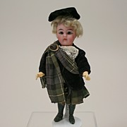 "Antique K*R 6"" All Original Scottish Dollhouse Doll Circa 1920's"