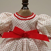 Vintage White Cotton Dress With Red Polka Dots Circa 1970s