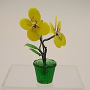 Early Dollhouse Venetian Yellow Glass Flower