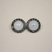 Vintage White Glass Pin With Faux Black Glass Stones Ca 1930's