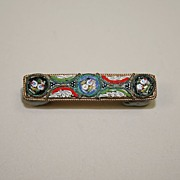 Vintage Micro Mosaic Bar Pin From Italy Circa 1930