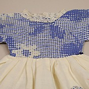 Vintage Handmade Blue And Cream Cotton Dress