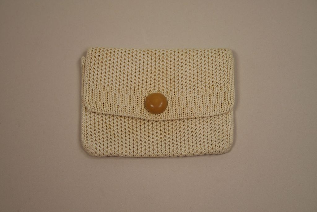 Vintage Creamy French Vanilla Crochet Doll Purse Circa 1940