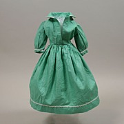 Handmade Shiny Mint Cotton Fashion Dress Circa 1950