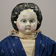 "REDUCED Antique 21"" Ludwig Greiner Doll Circa 1858"