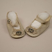 REDUCED Vintage White Oil Cloth Doll Shoes Circa 1940