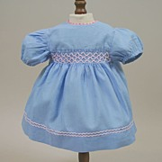 SALE Vintage Blue Cotton Dress With Pink Smocking Circa 1950
