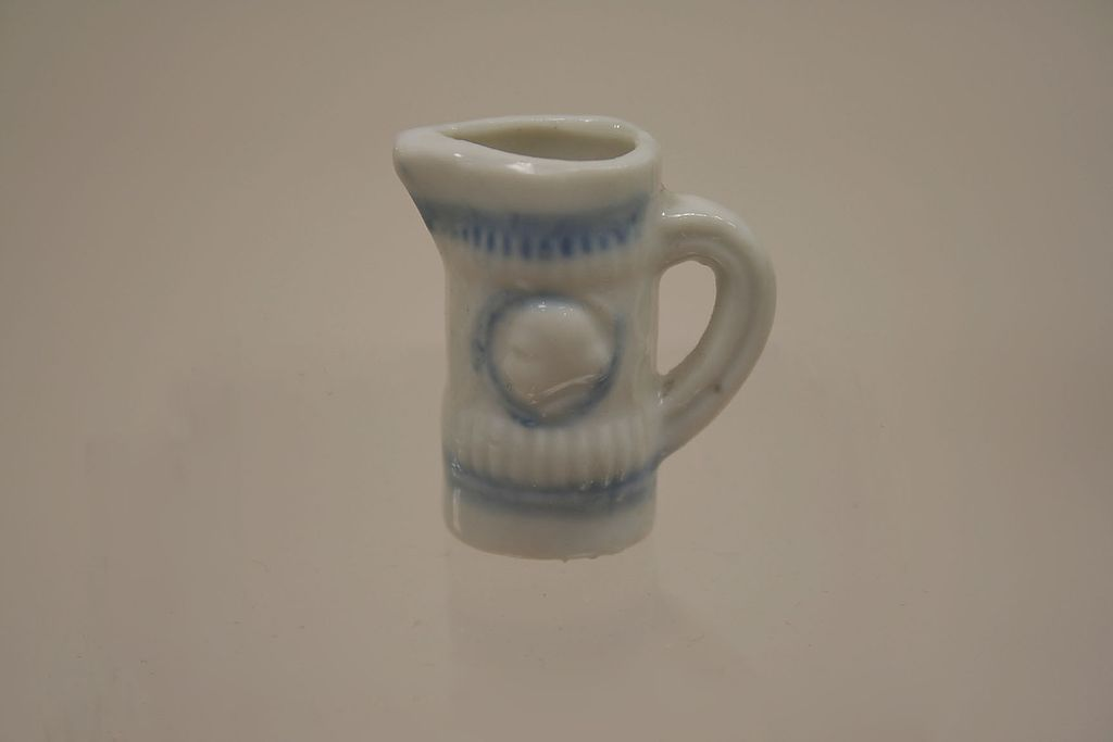 Vintage Miniature Dollhouse Blue And White Porcelain Pitcher