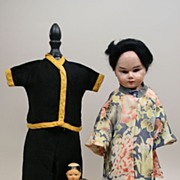 REDUCED Vintage Oriental Papier Mache Doll With Extra Outfit