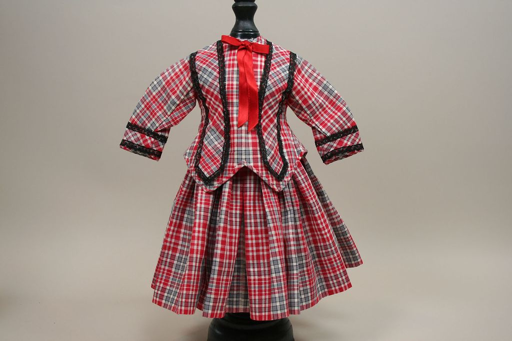 Vintage Red Plaid Two Piece Dress Circa 1970