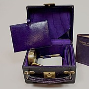 Early 6 Piece Dark Plum Leather Vanity Box