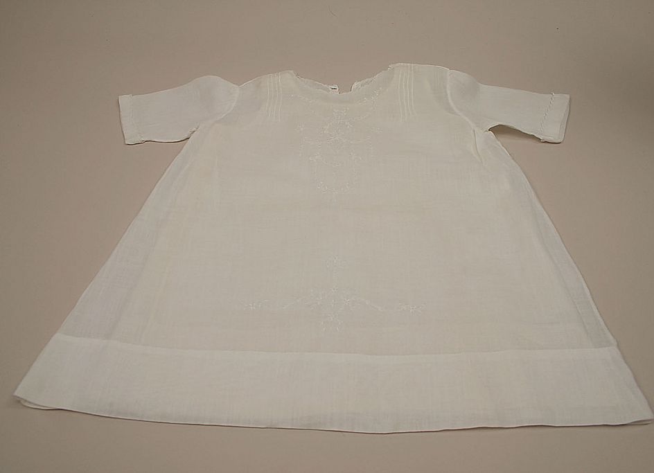 Early Embroidered Doll Baby Gown With Full Slip