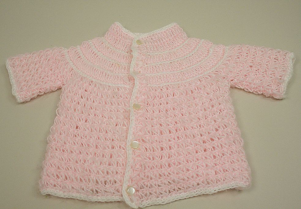 Vintage Factory Made Acrylic Pink Doll Or Bear Sweater