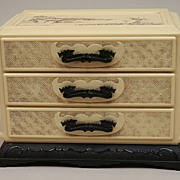 REDUCED Vintage Cream Oriental 3 Drawer Jewelry Box Circa 1950