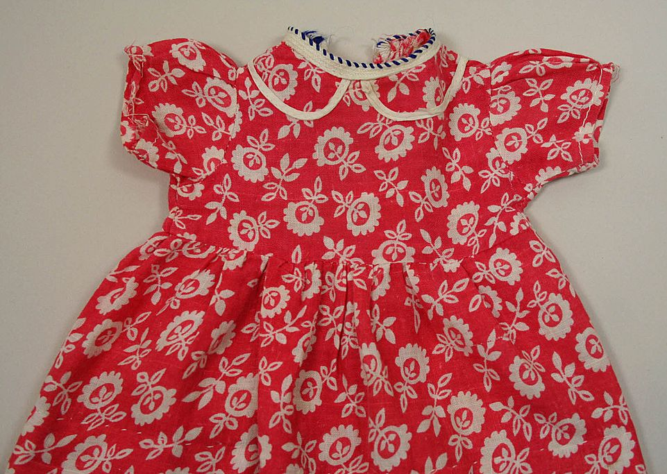 Vintage Red Print Cotton Dress Circa 1950
