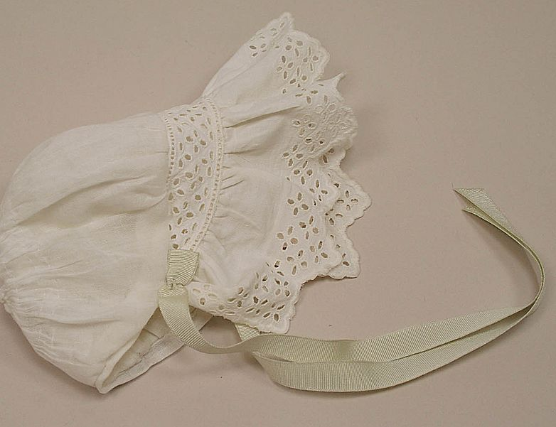 Vintage Cotton Lined Eyelet Baby Bonnet