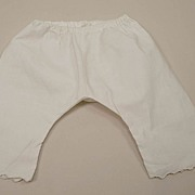 Early Cotton Muslin Doll Pantaloons With Scalloped Edging