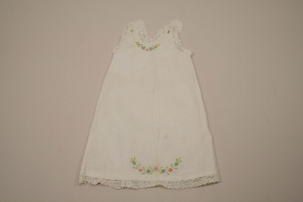 Early Hand Embroidered Cotton Doll Slip