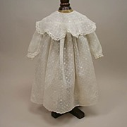SALE Early French Creamy Dotted Swiss Frock