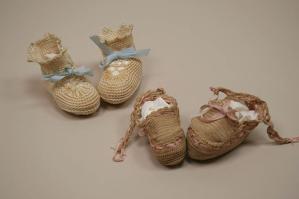 Very Early Hand Crocheted Doll Booties