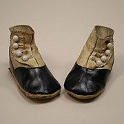 REDUCED Antique Leather Cream And Black Button Baby Doll Shoes