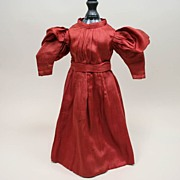Antique Silk Copper Toned Doll Dress Circa 1880's