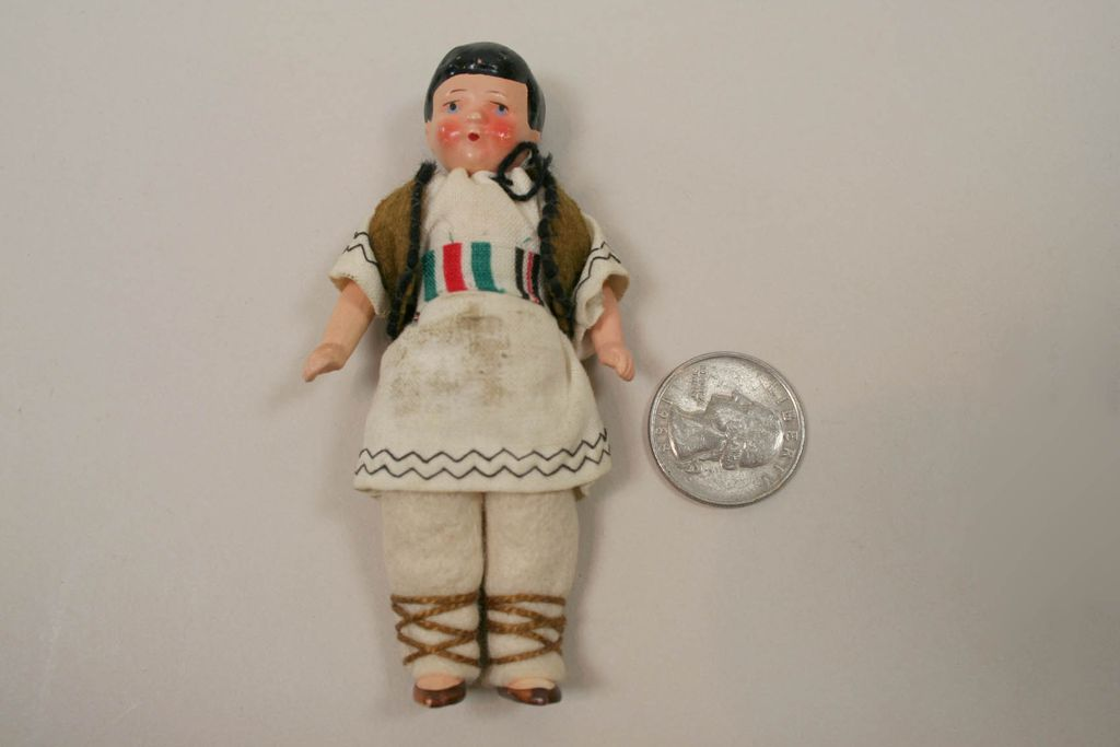 "Early German Hertwig 3 1/2"" Dollhouse Doll Circa 1920"