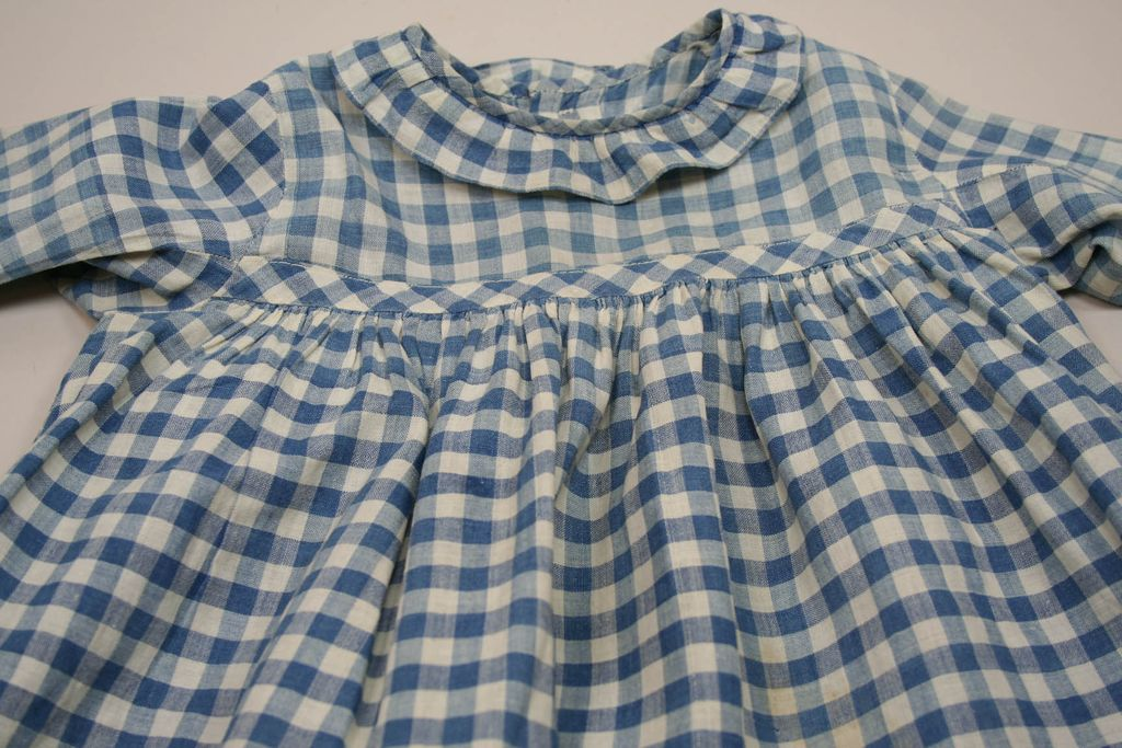 Very Early Cotton Corn Flower Blue Gingham Doll Dress