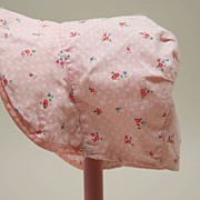 Vintage Pink Cotton Print Baby Doll Bonnet