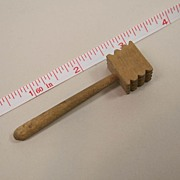Early All Wood Dollhouse Meat Tenderizer Or Mallet Circa 1940