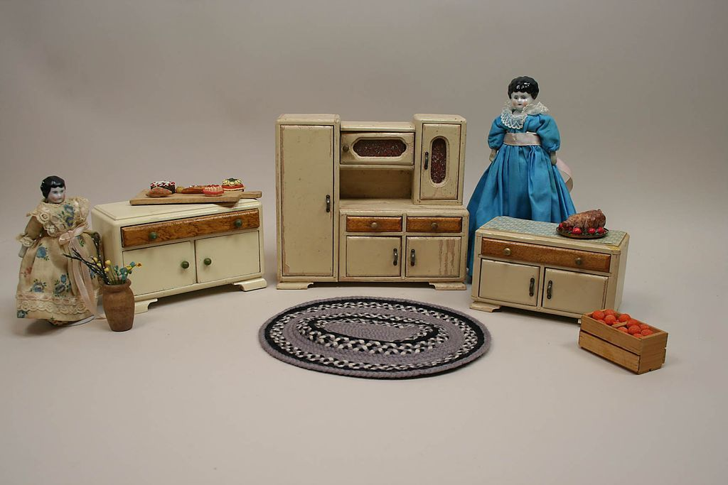 Early 3 Piece German Cream Kitchen Art Deco Wood Dollhouse Furniture