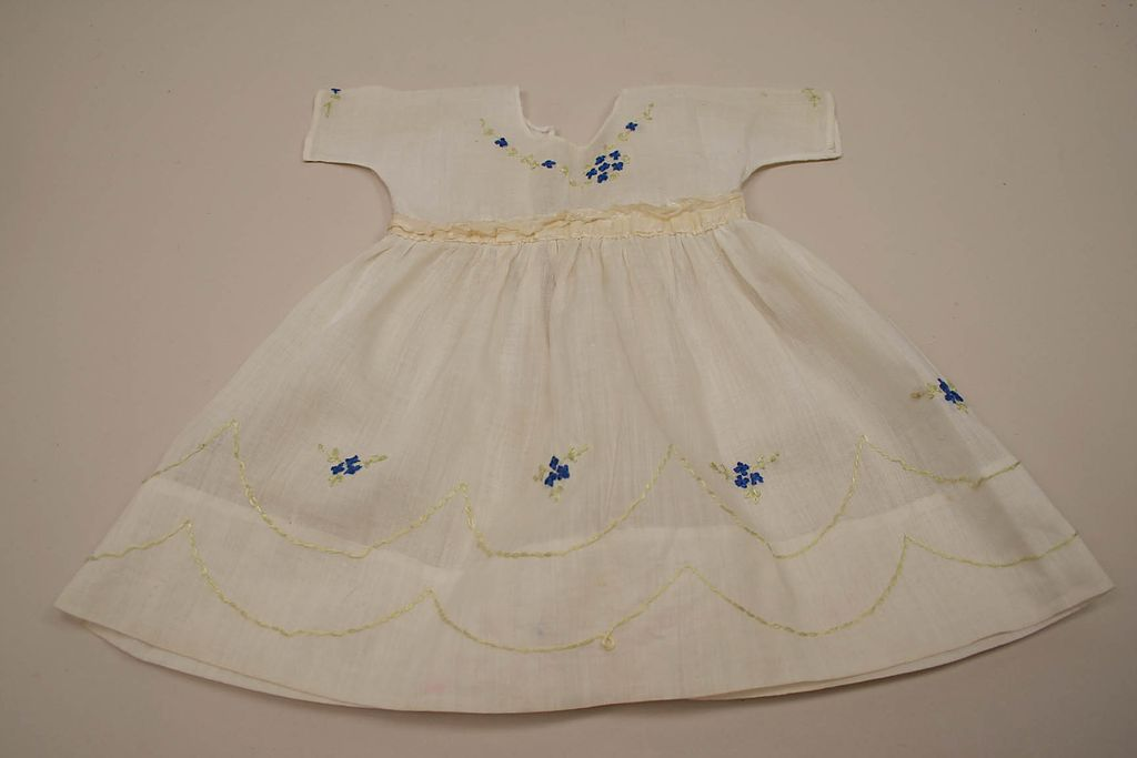 Early Sheer Hand Embroidered Doll Dress Circa 1910