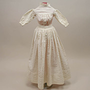 Antique Cream Cotton  Seersucker Doll Dress Circa 1910