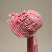 Vintage HTF Size Cotton Gingham Baby Bonnet With Satin Bow And Ties