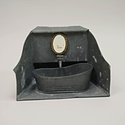 Antique German Dollhouse Tin Bathtub With Surround, Spigot And Water Well
