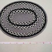 Vintage Handmade Braided Black And Gray Dollhouse Rug