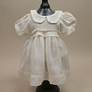 Early Swiss Dotted Cotton Doll Dress With Full Slip Circa 1920