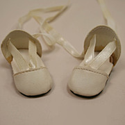 Vintage Cream Leather Doll Shoes Circa 1950