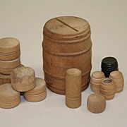 SALE Early German Dollhouse 13  Wooden Barrels