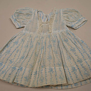 Vintage 1950's Corn Flower Blue Print Cotton Dress With Slip