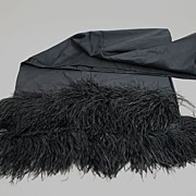 SOLD Rare Antique Woman's Black Victorian Shawl With Real Feathers Circa 1900s