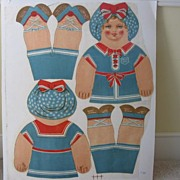 "Antique Uncut Cloth Doll ""Dolly Dips"" Dean's Rag Co"
